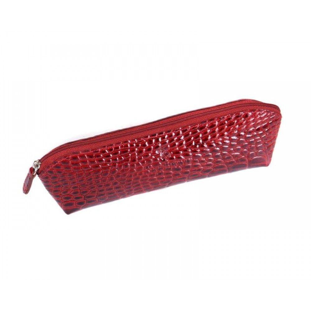Red Patent Croc Large Pencil Case