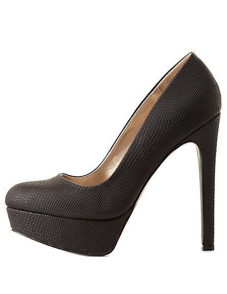 Qupid Python Print Platform Pumps: Charlotte Russe #CRshoecloset #heels