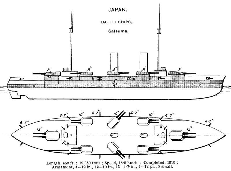 Battleship Satsuma diagrams Brasseys 1923 - HMS Dreadnought (1906 ...