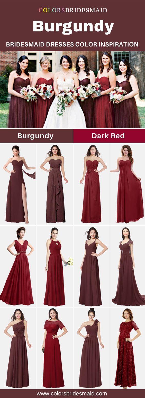 Burgundy bridesmaid dresses color inspirationburgundy and dark red