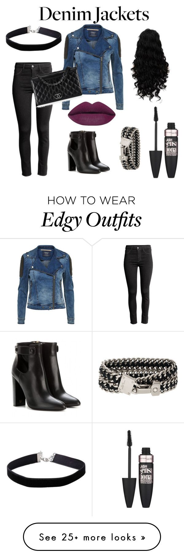 """Edgy Chic"" by judith-stephanie-hernandez on Polyvore featuring Tom Ford, H&M, Miss Selfridge, Henri Bendel, Maybelline, Chanel, denimjackets and Ward..."