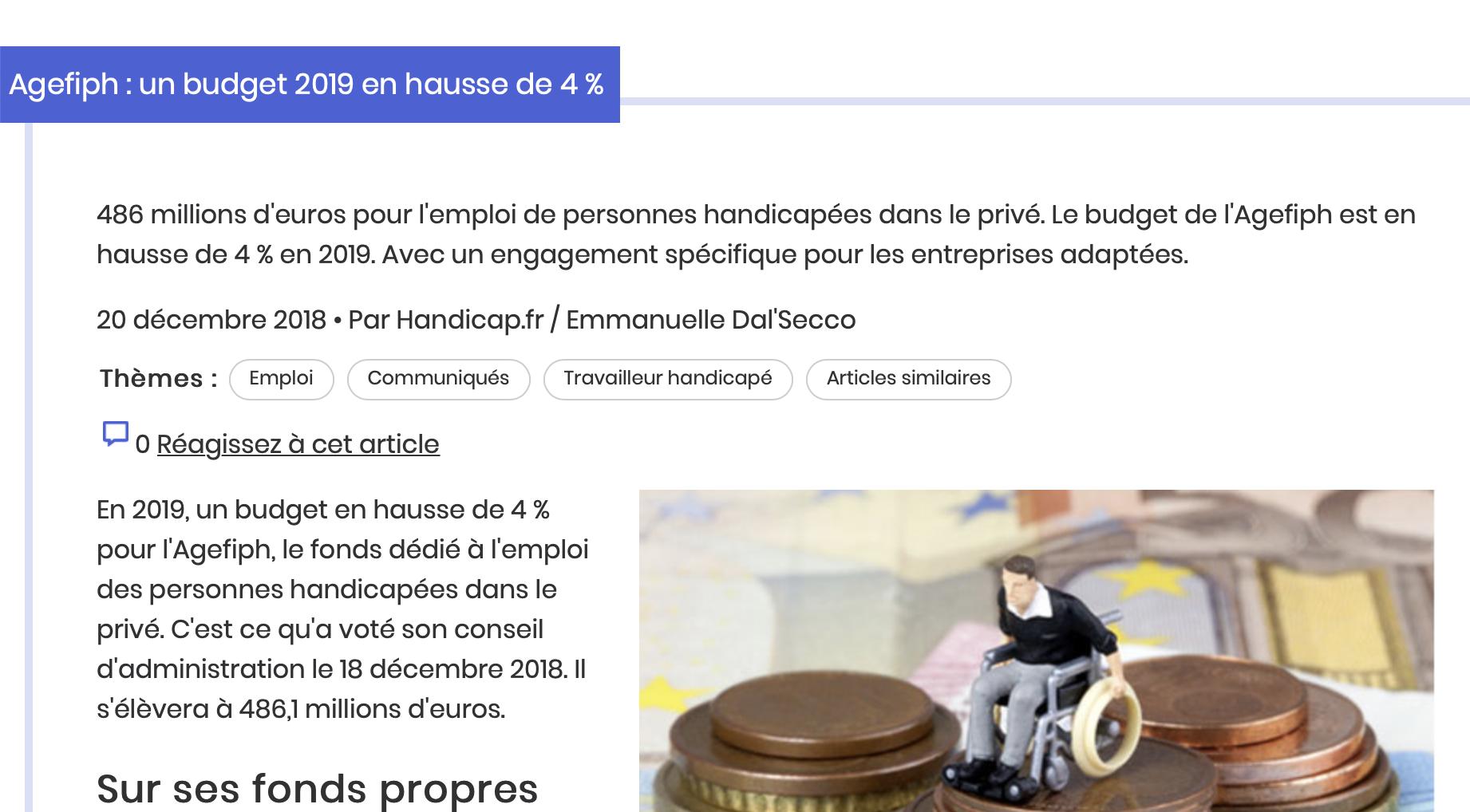 Agefiph Budget 2019 Emploi Personnes Handicapees Communiquer