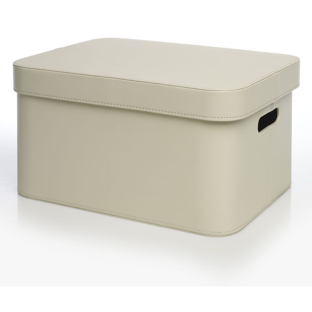 Wilko Faux Leather Storage Box Cream Large £16.00 Height:21.2CM Width:30.5