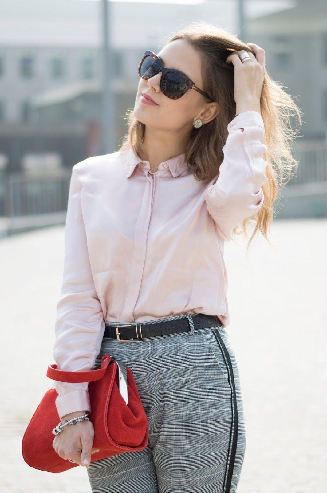 check-out 94f20 a3a5a Total Zara Look: Pantalone check, Camicia rosa e un tocco ...