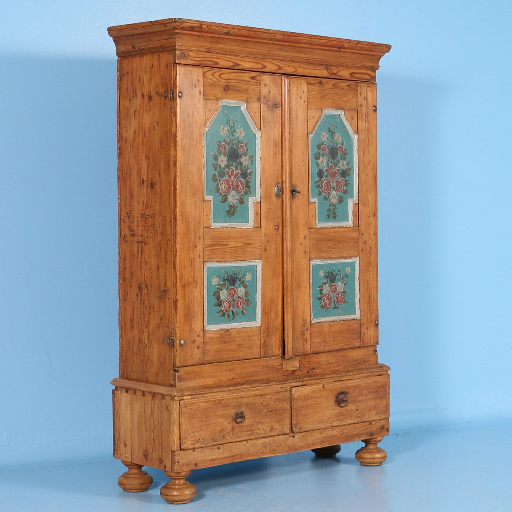 Antique Pine Armoire With Original Painted Panels Circa 1800 1840 Painting Furniture Diy Antiques Scandinavian Folk Art