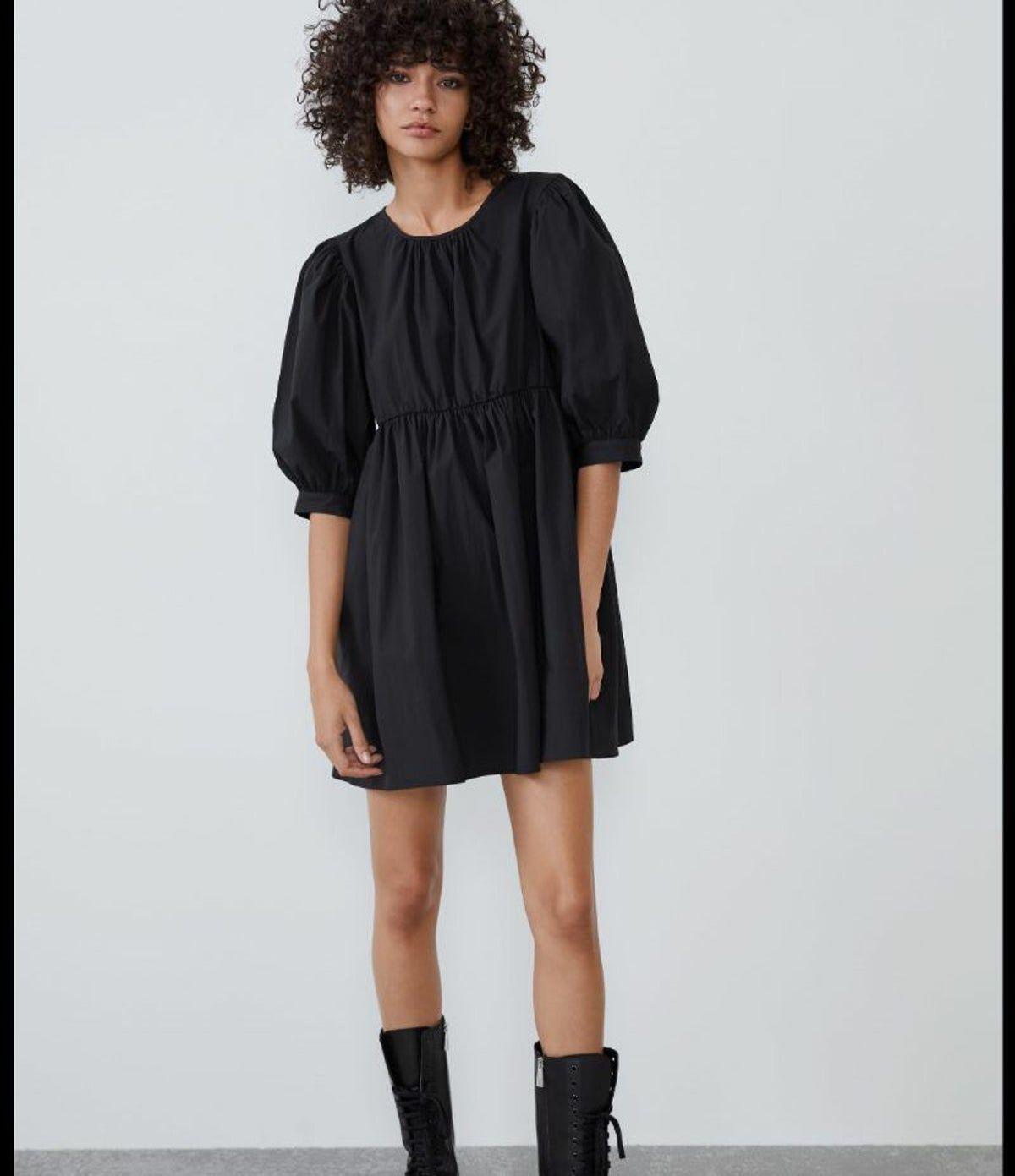 Zara black puffy poplin mini dress   Dresses, Mini black dress ...