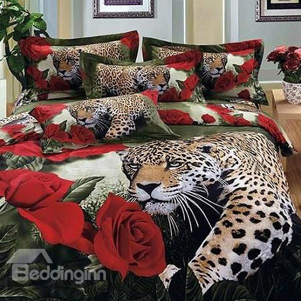 Luxury Leopard And Roses Print 4 Piece 100 Cotton Duvet Cover