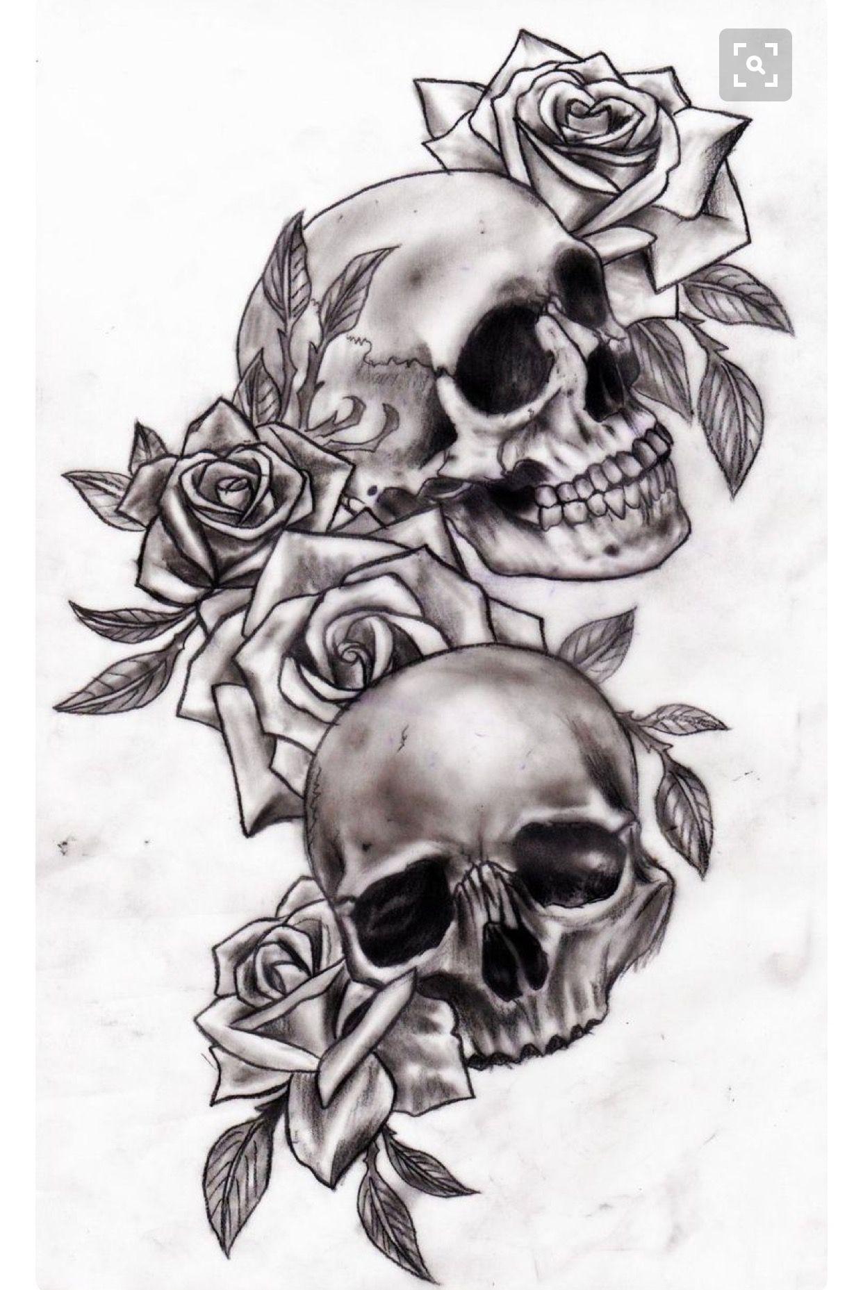 shoulder skull rose tattoo - 736×1207
