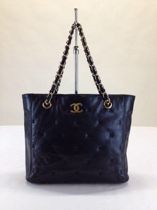 Chanel Black Lambskin Chain Strap Tote Bag