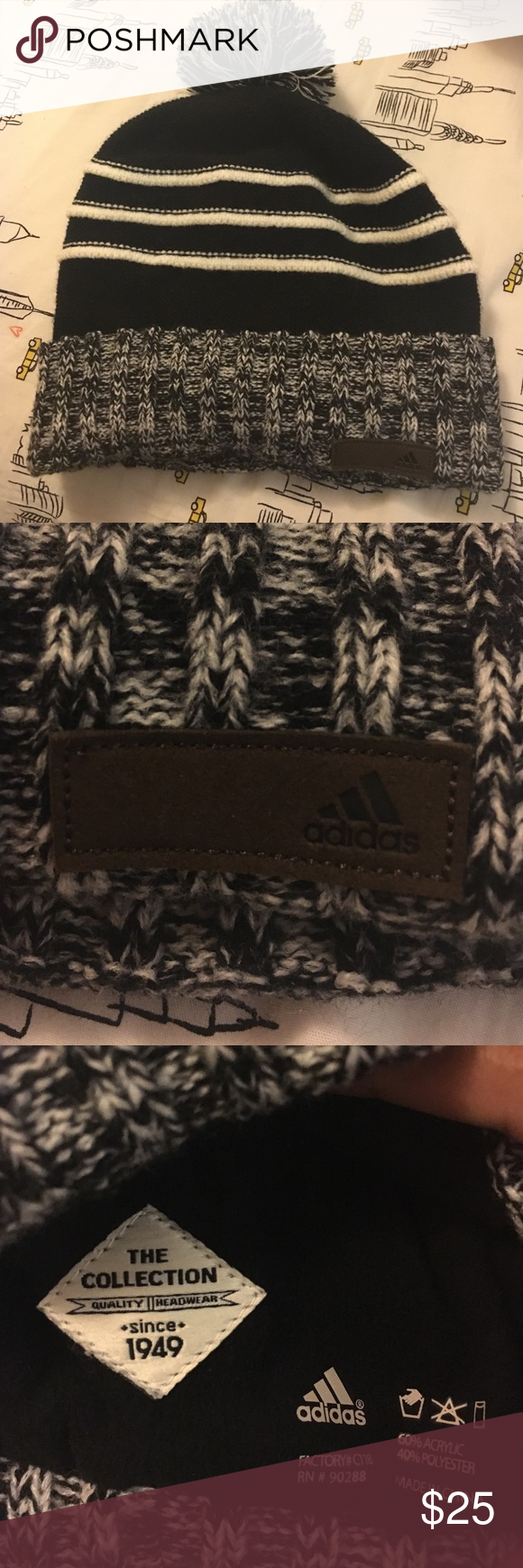 NWOT Adidas hat NWOT adidas Pom Pom hat, got for a gift. Adidas Accessories