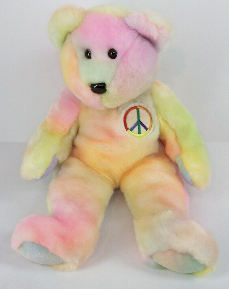 cecccede8e6 Ty Beanie Baby Peace Bear Born 1999 Multi-Color Tie-Dye Stuffed Animal toys
