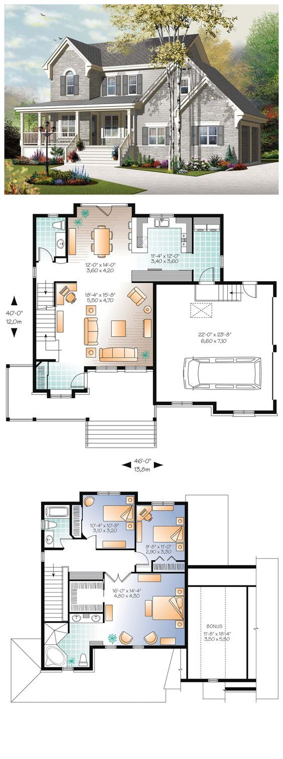 European House Plan 76322 | Total living area: 1854 sq ft, 3 ...