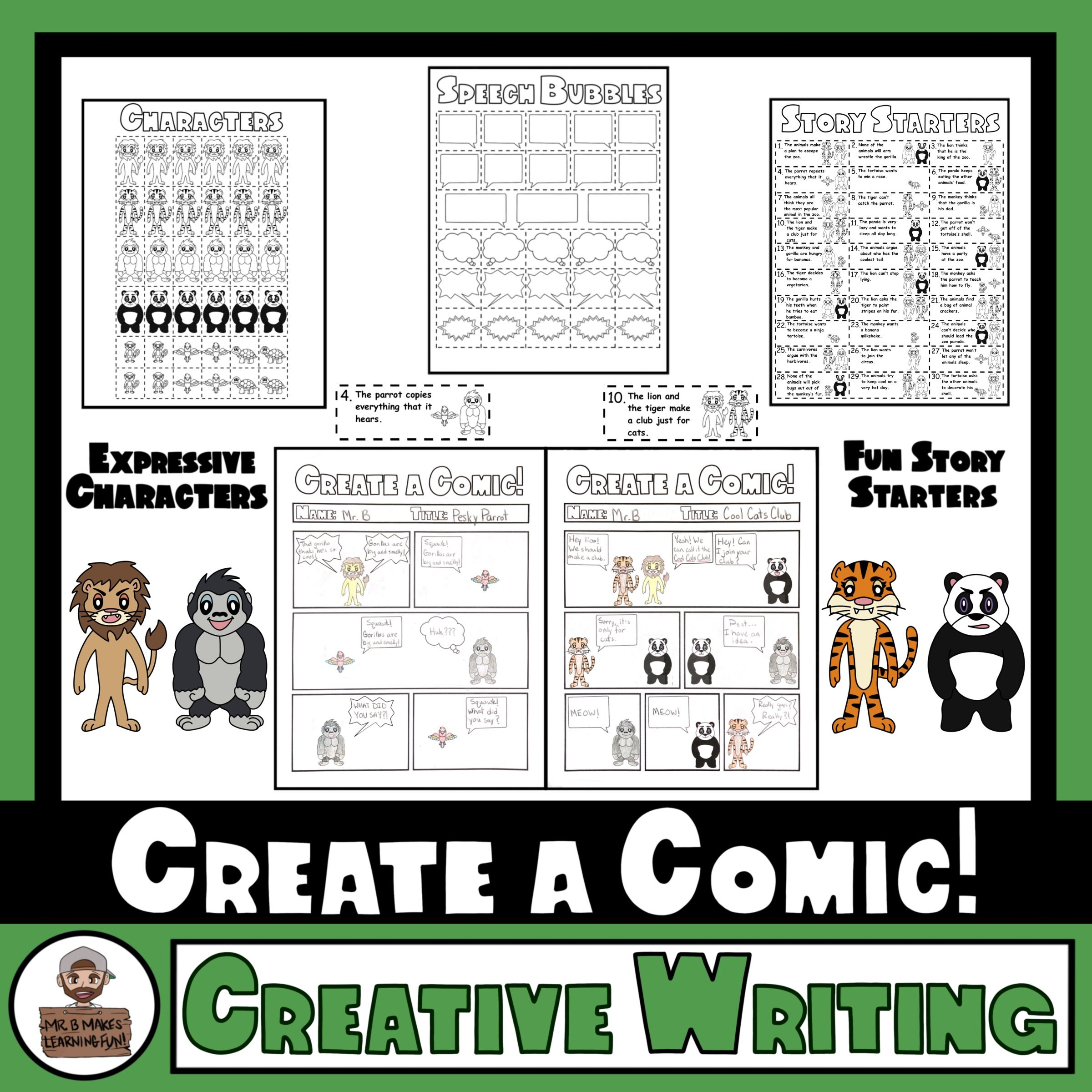 Zoo Animals Comic Strip Writing Templates Characters And Story