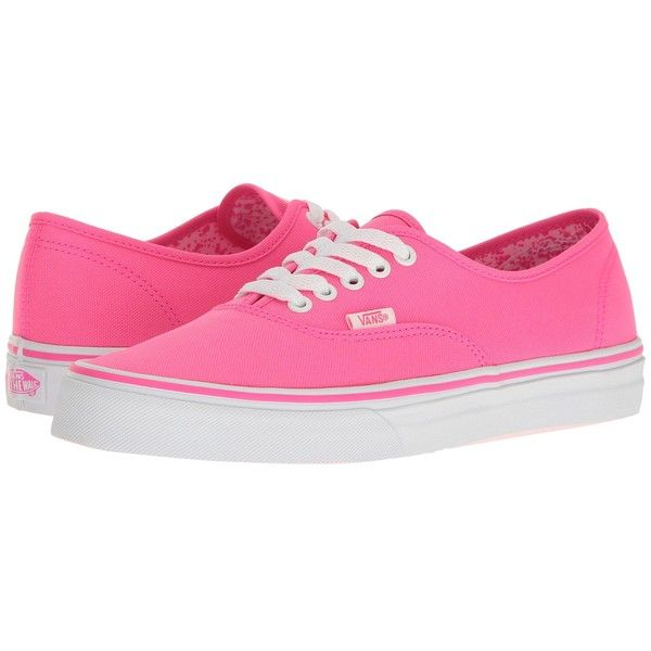 e6da231f60d1b1 Vans Authentic ((Neon Splatter) Neon Pink True White) Skate Shoes ( 55) ❤  liked on Polyvore featuring shoes