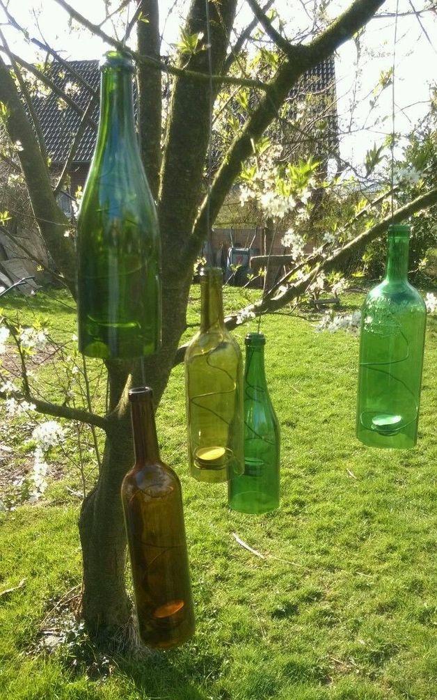 Windlichter - Flaschen-Windlicht,Flaschenlicht,Glas \ Metall - ein - deko garten basteln
