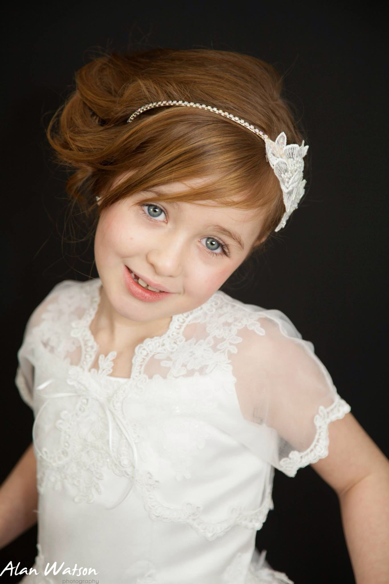 lace and rhinestone headband holy communion flower girl