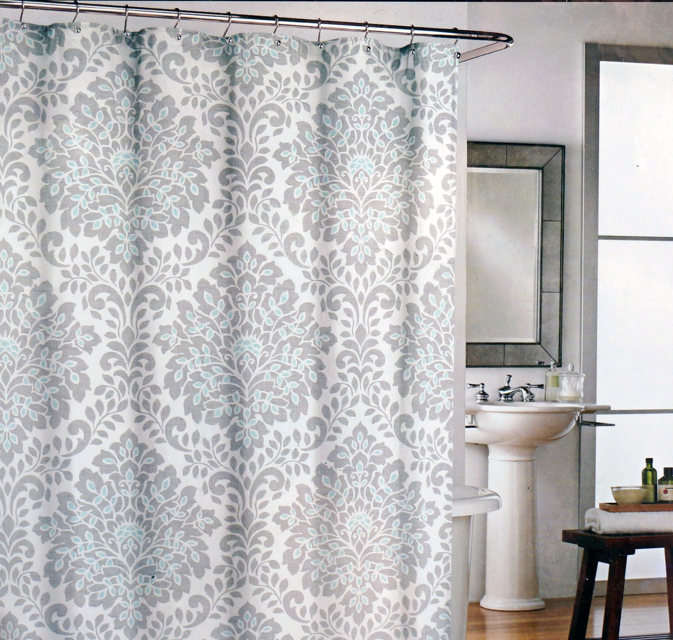 Cynthia Rowley Fabric Shower Curtain Gray Medallions With Teal