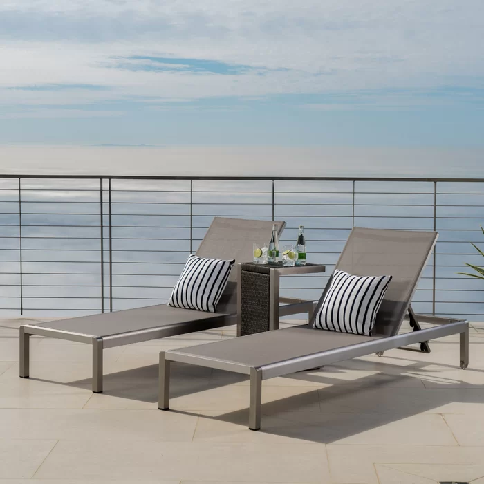 Royalston Sun Lounger Set With Table Gray Patio Furniture Outdoor Chaise Lounge Chaise Lounge