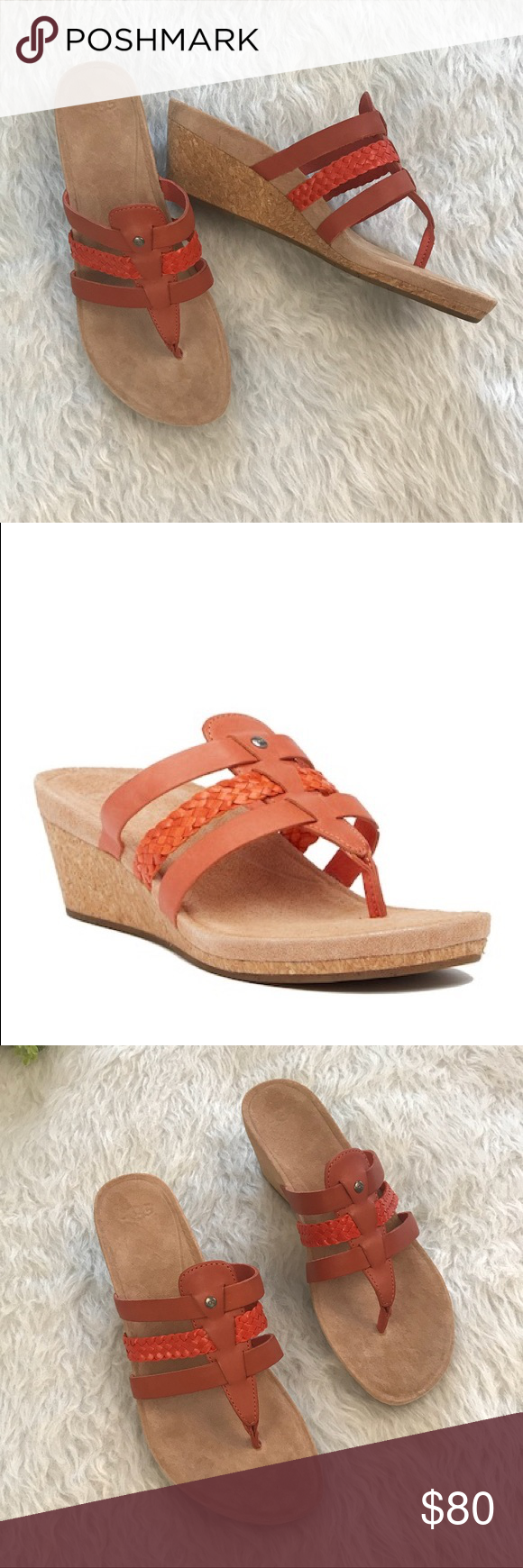 507eb7d0de NIB Ugg Maddie Wedge Sandal The UGG Maddie Wedge Sandal features a cushioned  cork wedge that