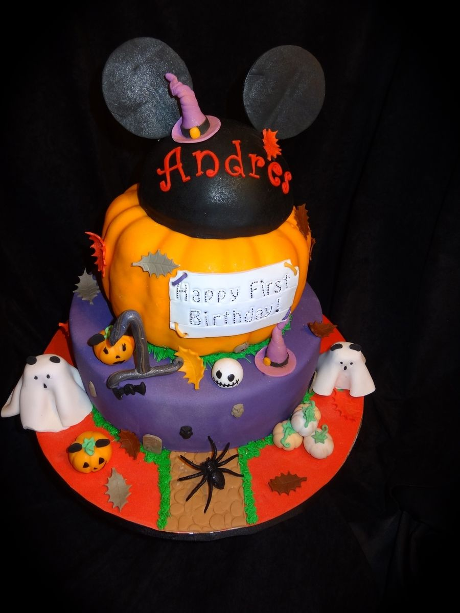 Mickey Mouse Halloween Cake I Made This For A First Birthday Very Special Little Boy