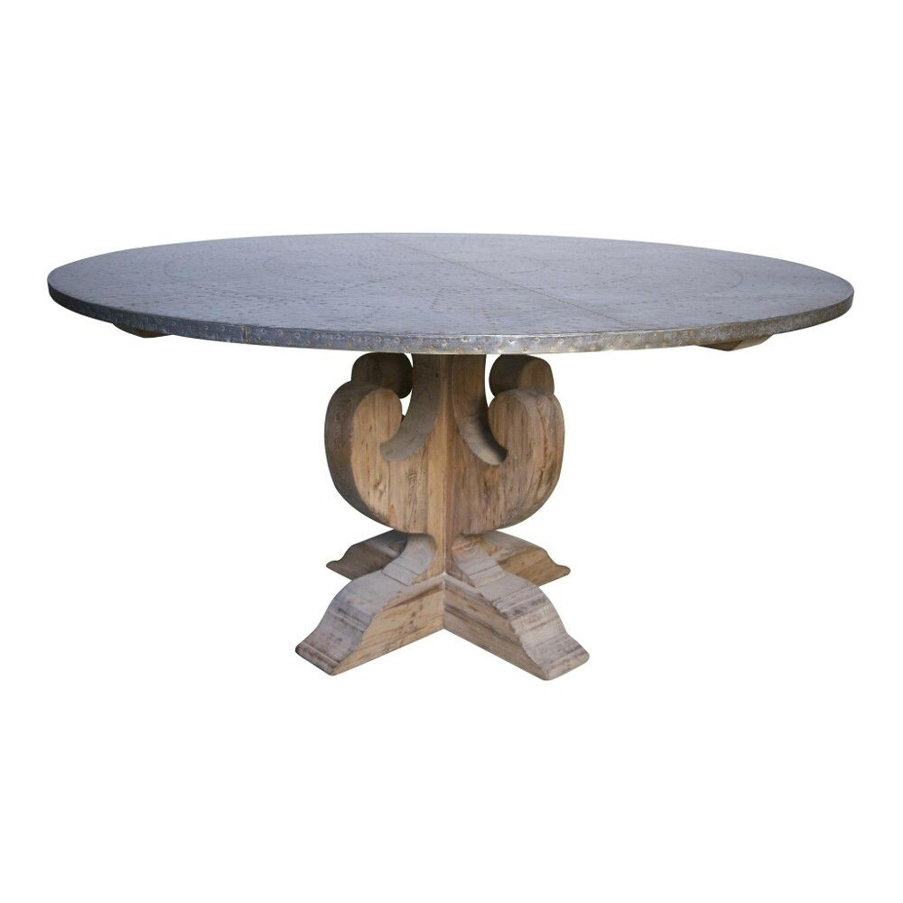 Noir Curlin Dining Table W Hammered Zinc Top Candelabra Inc 60 Round Dining Table Zinc Dining Tables Round Dining Table Zinc top round dining table