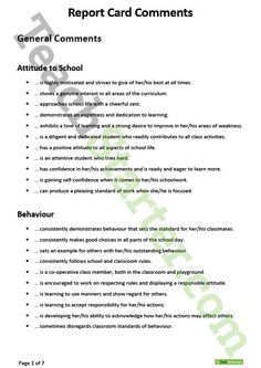 Report Card Comments Teaching Resource  Teaching Resources