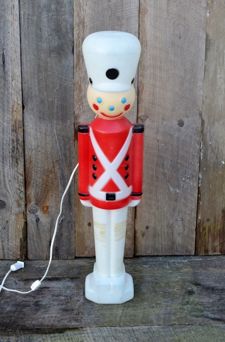 vintage toy soldier nutcracker plastic blow mold light up yard ornament christmas decoration empire working cord red white indoor outdoor by
