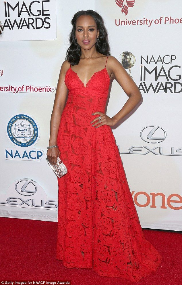 Lady in red: Making sure to stand out Kerry donned a bright red spaghetti strapped Zuhair ...