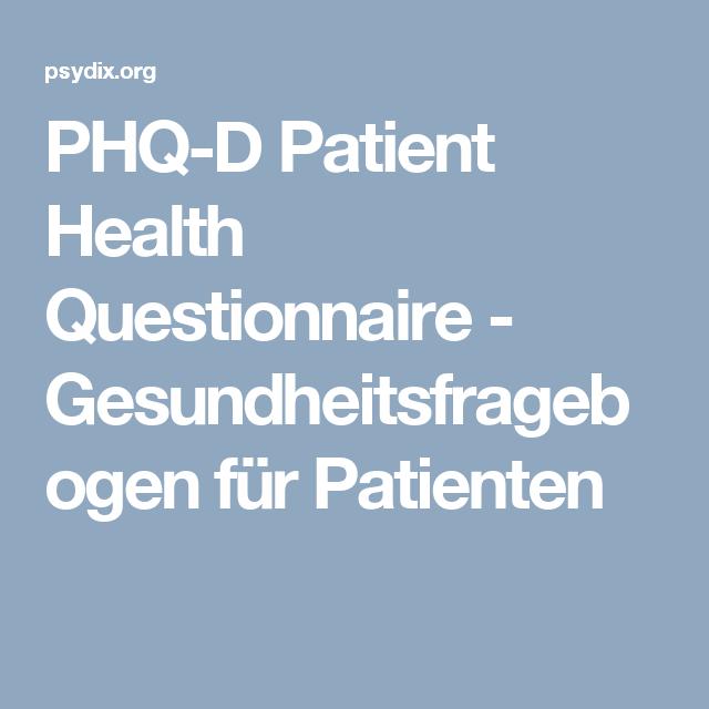 Phq D Patient Health Questionnaire Gesundheitsfragebogen Fur Patienten Psychologisch Dokumentation