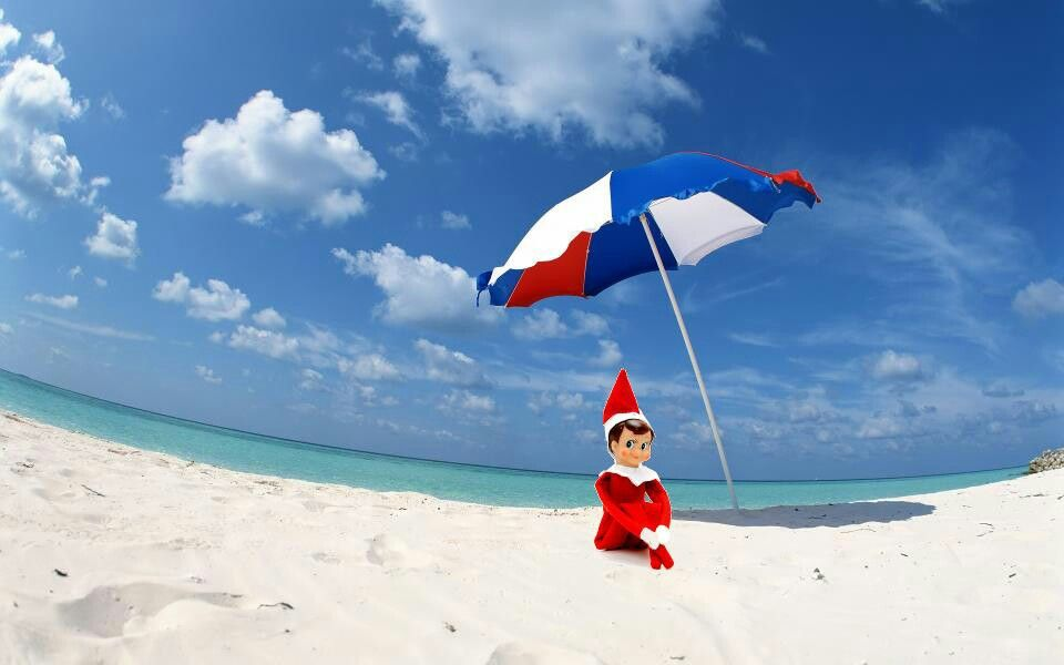 Elf On The Shelf On Vacation Beach Wallpaper Blue Sky Wallpaper Umbrella