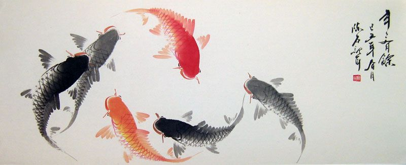 Chinese calligraphy painting fish google search art for Chinese koi fish painting