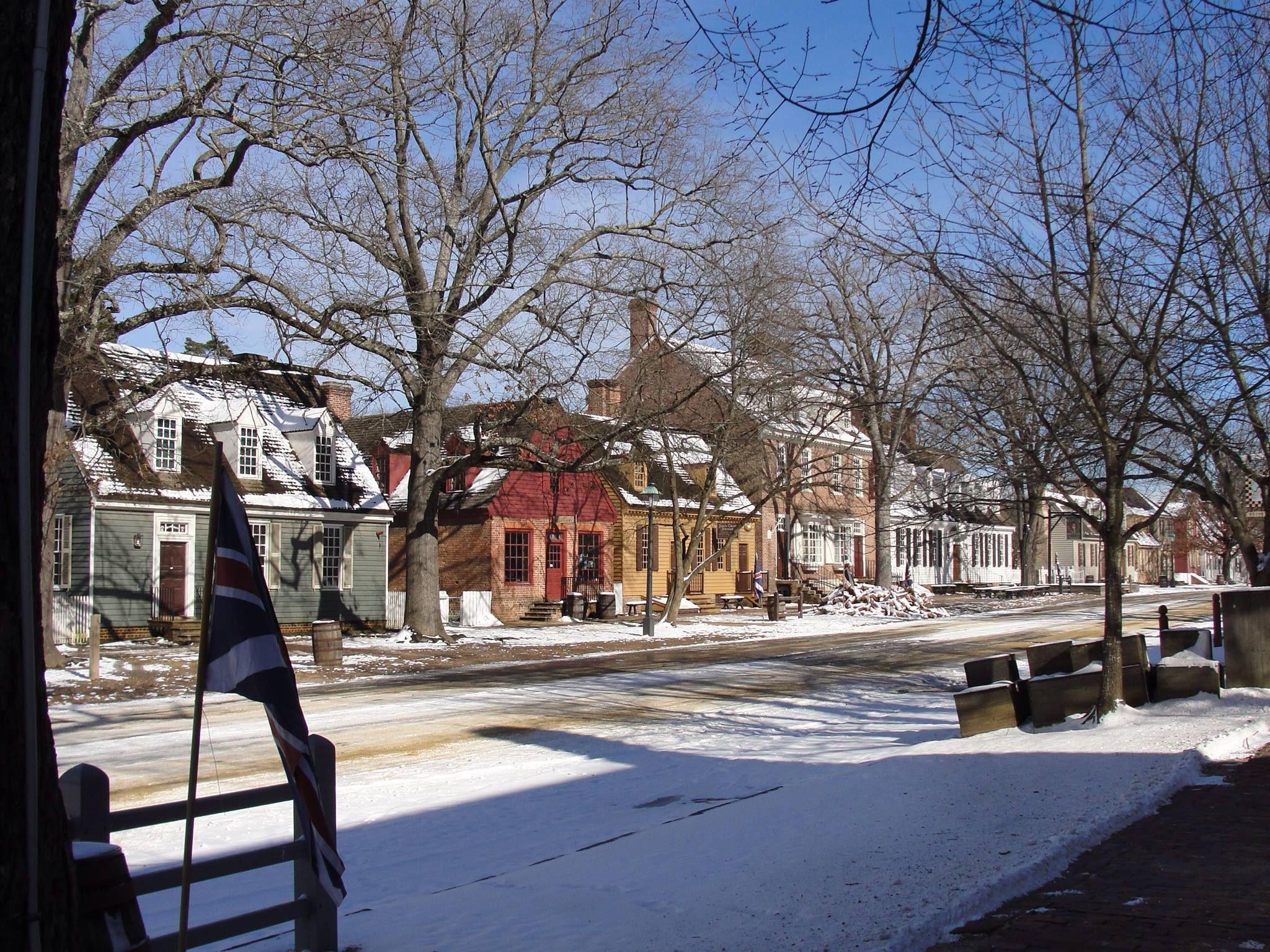 Snow On D O G Street Williamsburg Virginia Colonial