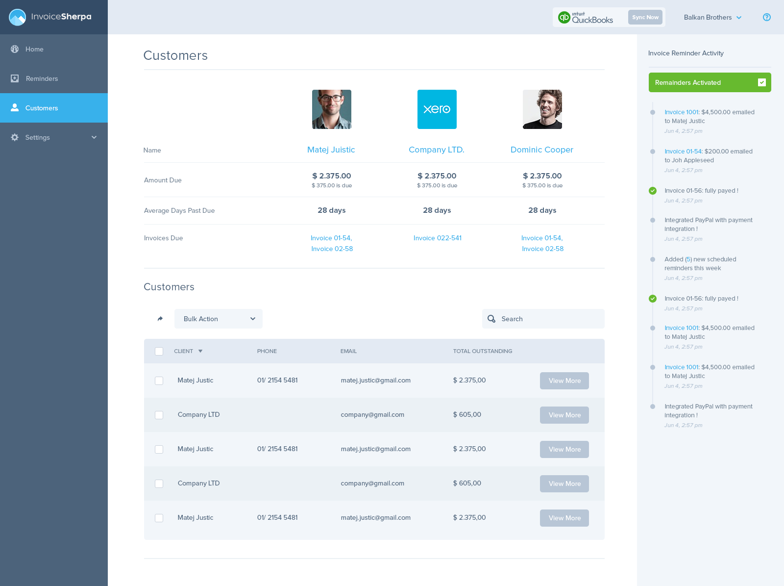 Invoice Sherpa Dashboard Customers By Balkan Brothers Ui