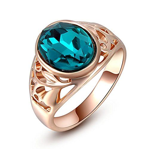 ZHI CHEN Gold Filled Finger Ring(Green Emerald6). High quality. Brand new. Free case(colour random).