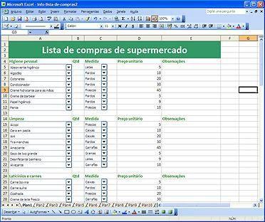 Lista De Compras Excel Planilha De Controle De Supermercado