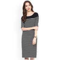 66f6df4d0ec2c0 Zima Leto Women Black   White Striped Sheath Dress