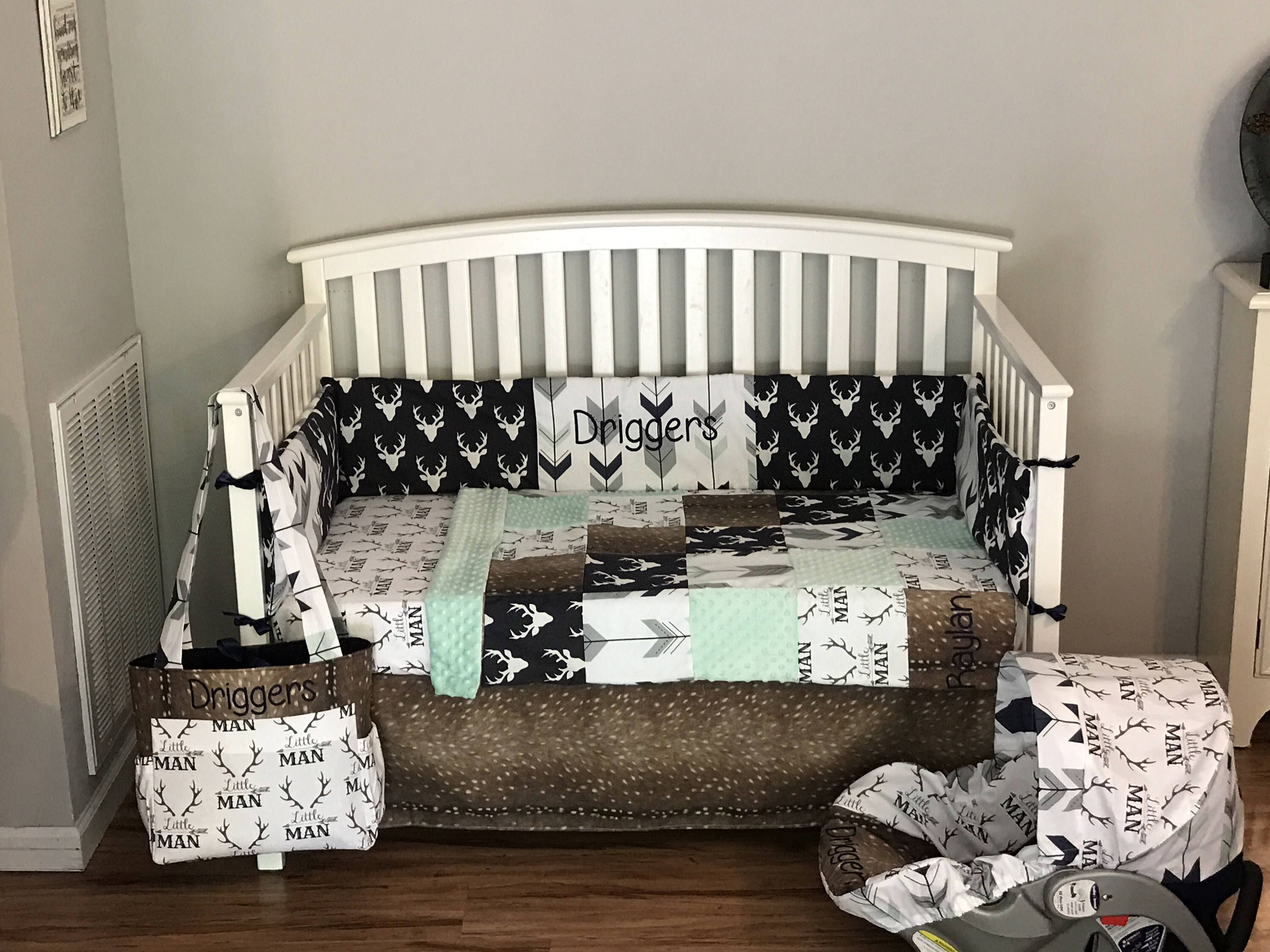 Deer skin Nursery Set 6 piece crib set, diaper bag & Car