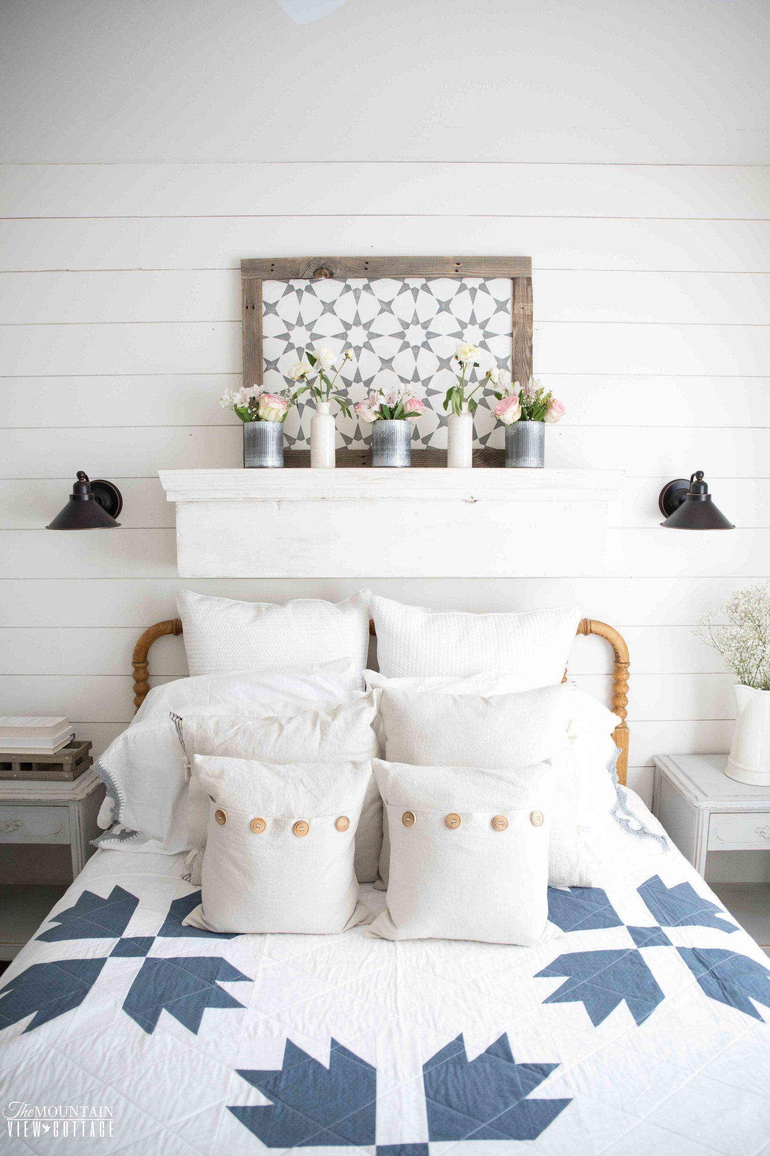 Farmhouse Spring Home TourPart 1 Above bed decor, Guest