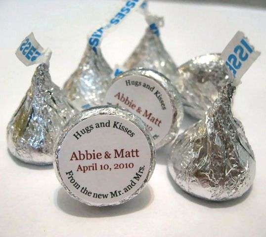 Hugs and Kisses Personalized Wedding Hershey Kisses Stickers ...