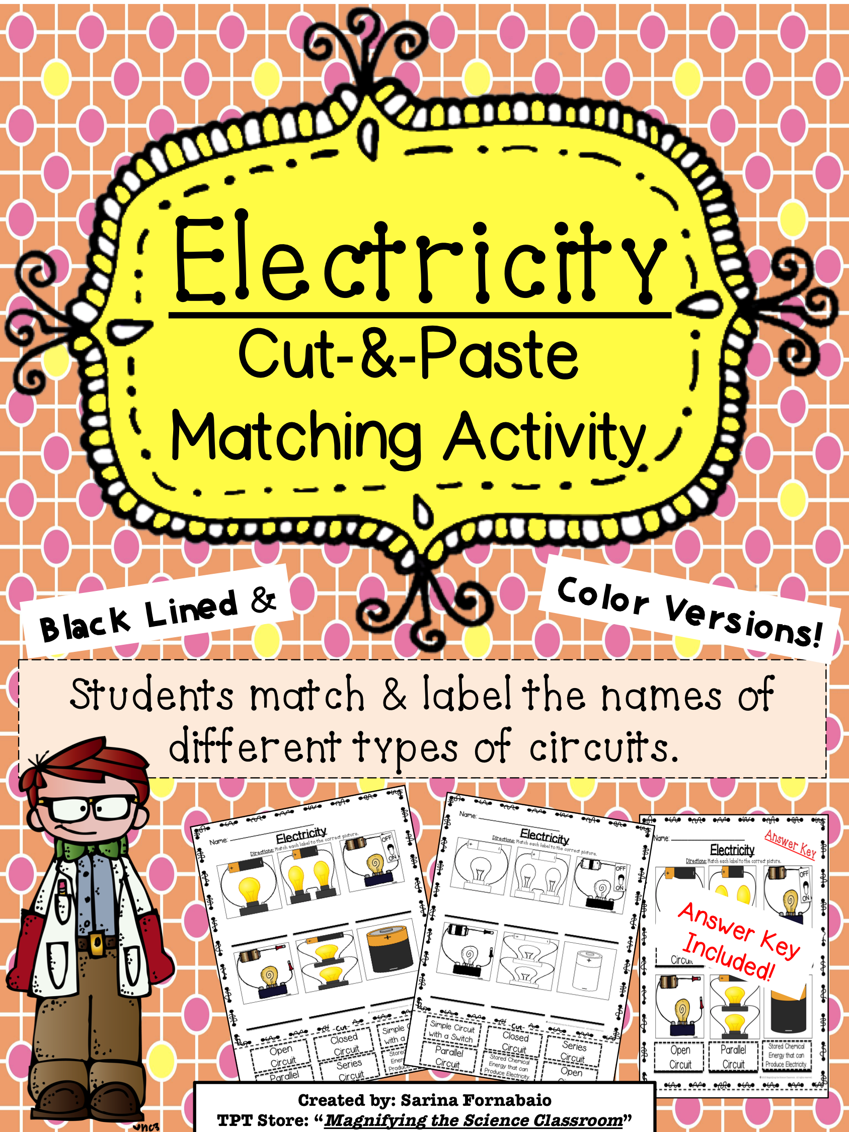 Electricity Types Of Circuits Cut And Paste Matching Activity Parallel Circuit Diagram 4th Grade Good For Ells More