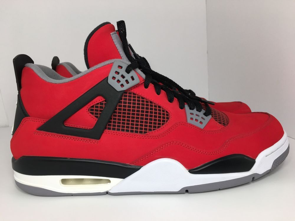 detailed look 20fb9 4a8bc Nike AIR JORDAN 4 IV RETRO TORO BRAVO, FIRE RED BLACK CEMENT 308497-603  SIZE 14   eBay
