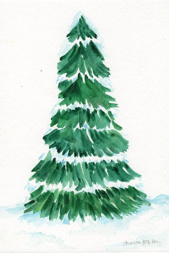 Christmas Tree Watercolor Painting Dusted With Snow 5 X 7