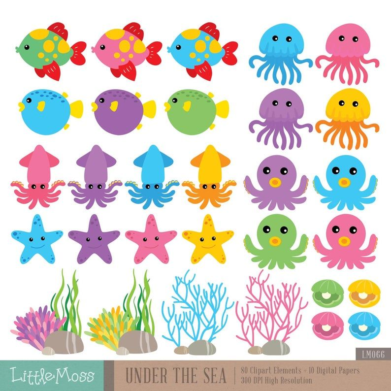 Under The Sea Digital Clipart And Papers Sea Animals Clipart Etsy Clip Art Digital Clip Art Animal Clipart