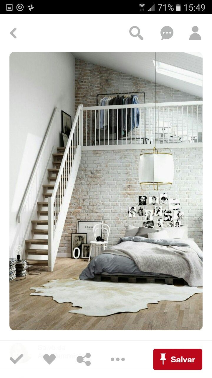 I have a place for this. airy and fresh Scandinavian bedroom w/upstairs  closet. by Pikcells Visualisation Studio We have loft bedrooms and ...