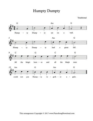 Humpty Dumpty Lead Sheet With Melody Chords And Lyrics Piano