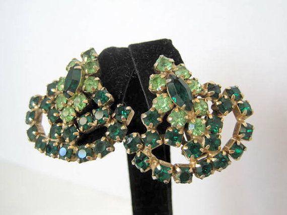 Dark Green Earrings Rhinestone Clip Style by VintagObsessions