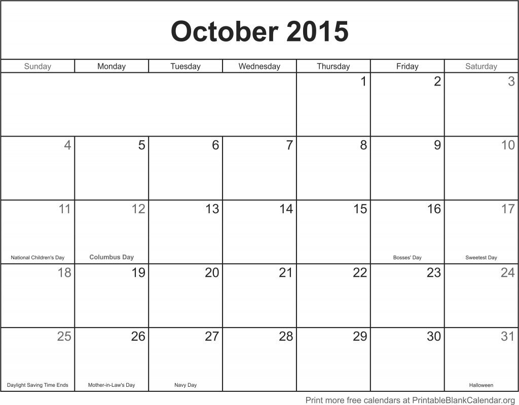 October 2015 Printable Calendar Printable calendar pages