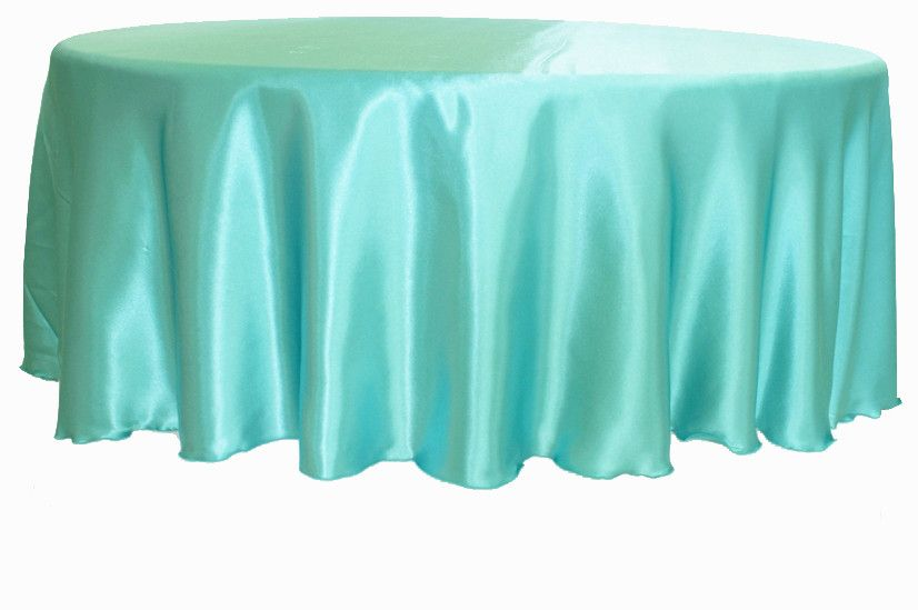 90 Round Satin Table Overlay Tiffany Blue Aqua 55518 1pc Pk