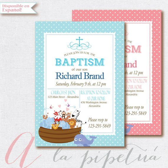 Baptism Invitation Noahs Ark Printable Invitatio
