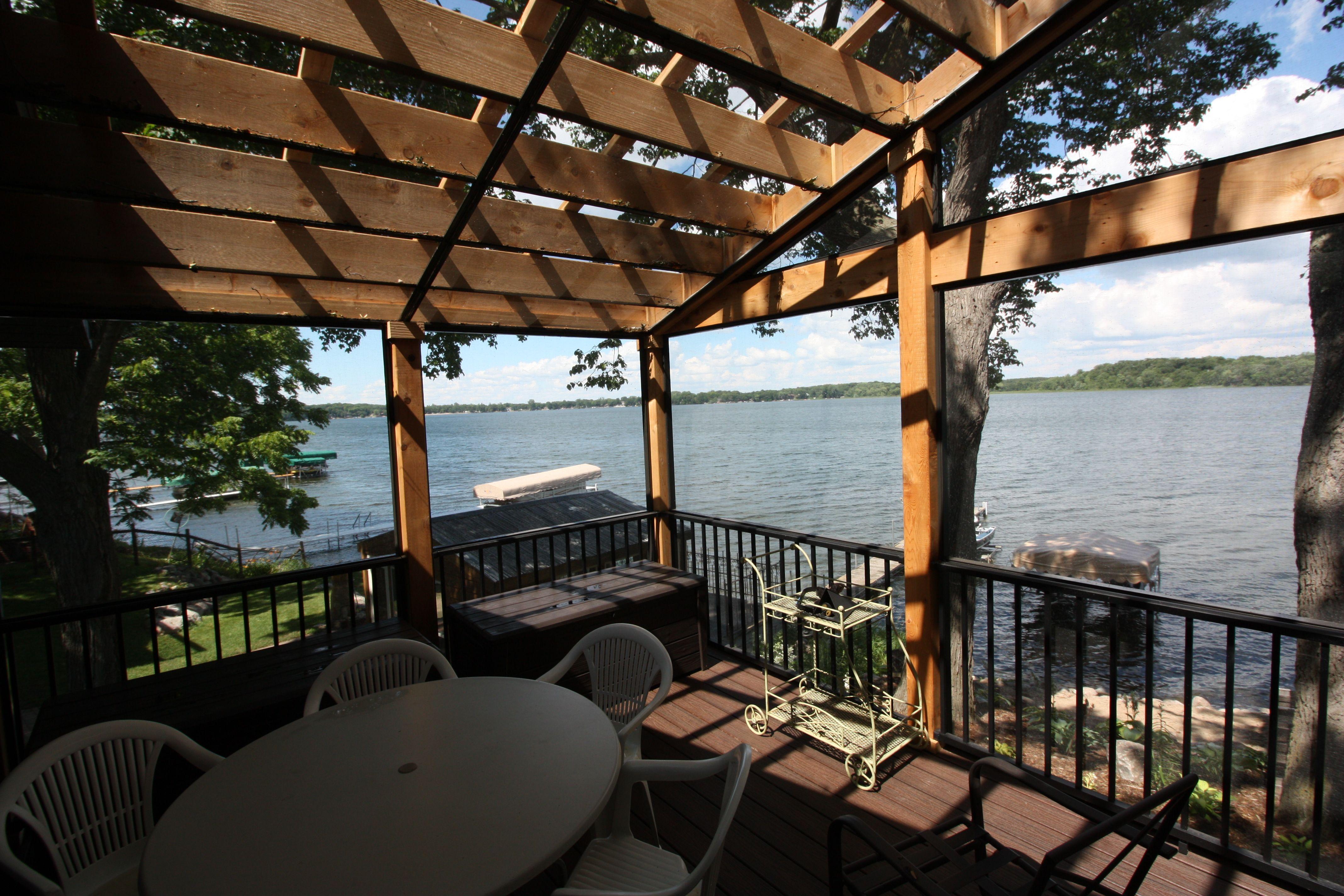 Cedar Screen Porch With Aluminum Railing, Matching Aluminum Screen Framing